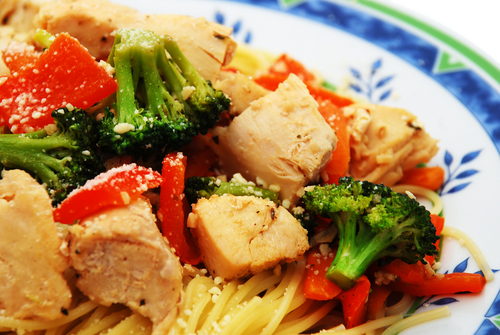 Receta de espaguetis con verduras y pollo