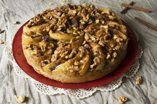 Receta de tarta de nueces y manzana