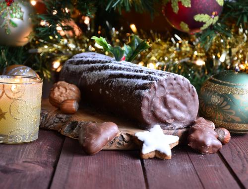 Receta de tronco de Navidad con galletas